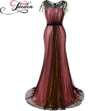 JAEDEN Oro Rojo Largo Vestidos de Noche de La Sirena de Lentejuelas Negro Tulle Cap Mangas Scoop Neck Vestidos Del Partido Vestidos Del Desfile 2017 E630