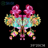1pair Wholesale 3D flores patch fabric peony applique computer embroidered stage clothes DIY accessories iron patch for clothes