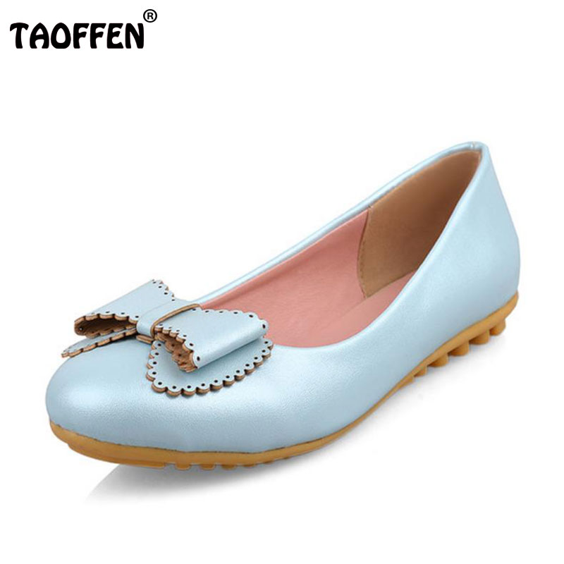 TAOFFEN Size 34-43 Ladies Flats Shoes Women Bowtie Round Toe Flat Shoe Sweet Party Daily Fashion Female Flat Fooewears plus size 34 43 new platform flat shoes woman spring summer sweet casual women flats bowtie ladies party wedding shoes