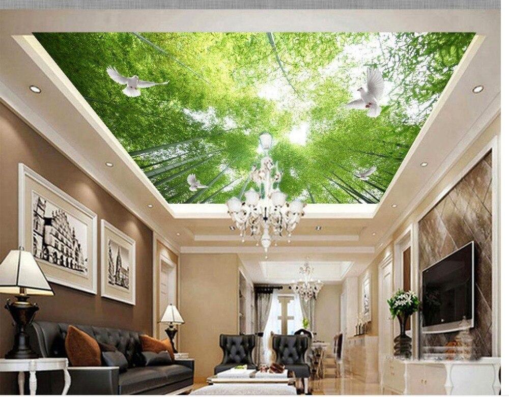 3d Angepasst Tapete Badezimmer Tapeten Bambus Wald Himmel Fliegende Taube Decke Wandbilder Wallpaper