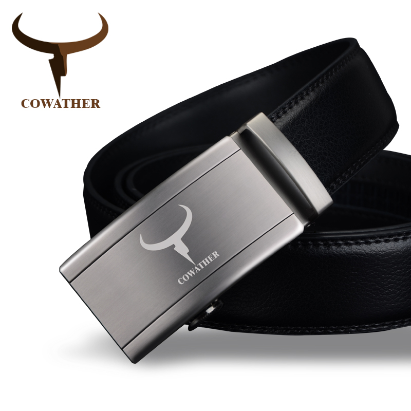COWATHER Fashion Automatic Buckle 100% Cow Genuine Leather Belts For Men High Grade Newest Arrival Good Male Strap Free Shipping