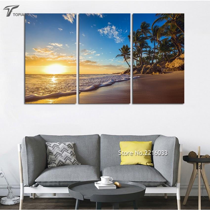 Buy modern wall art sunset ocean waves for 3 panel wall art