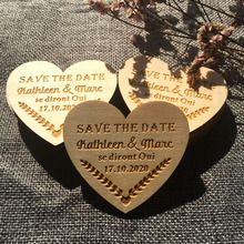 save the date magnets Personalized wooden heart label engraved baby baptism love gift  wedding to guests souvenir