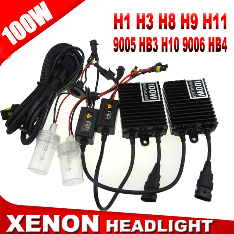 SPEVERT 100W Xenon HID Headlight Conversion Slim Ballast Kit H1 H7 H3 H8 H9 H11 9005 HB3 H10 9006 HB4 Headlamp 4300K 5000K 6000K slim hid xenon ballast 880 4300k headlight kit conversion bulbs 35w [c476]