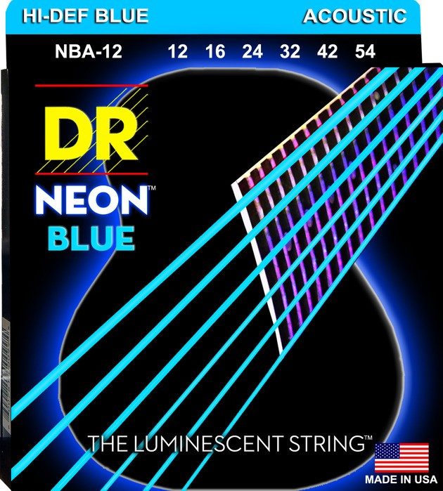 DR K3 Hi-def Neon Blue Luminescent Acoustic Guitar Strings, Light 12-54 dr strings nmcb 40 nmcb 45 nmcb5 45 dr k3 neon bass guitar strings light multi color