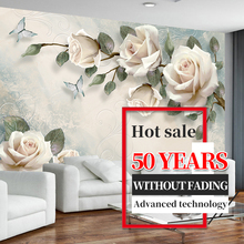 3D Custom Modern Photo Wallpaper Mural Painting White Rose Flowers For Living Room Bedroom TV Background Floral Home Decor Paper 3d nature landscape wallpaper for living room home improvement photo modern wallpaper background wall painting mural silk paper