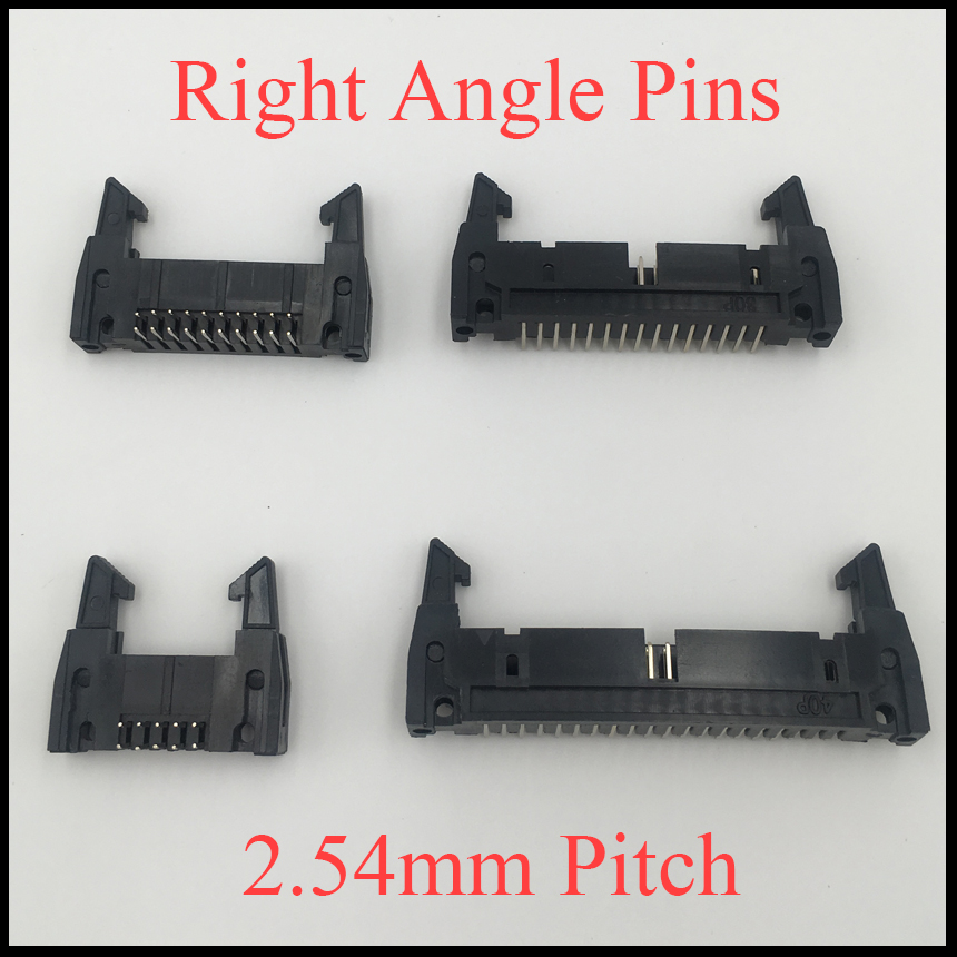 цена на DC2 34P 40P 50P 64P 34 40 50 64 Pins 2.54mm Pitch 90 Degree Right Angle Ejector Header Connector Male PCB IDC Horn Socket Box