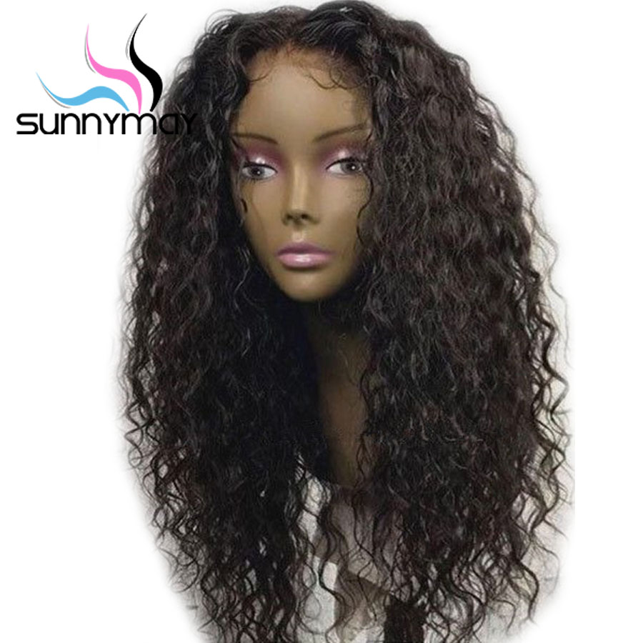 Sunnymay 130% Lace Front Human Hair Wigs Brazilian Remy Hair Middle Part Lace Front Wig With Baby Hair Pre Plucked Curly Wigs