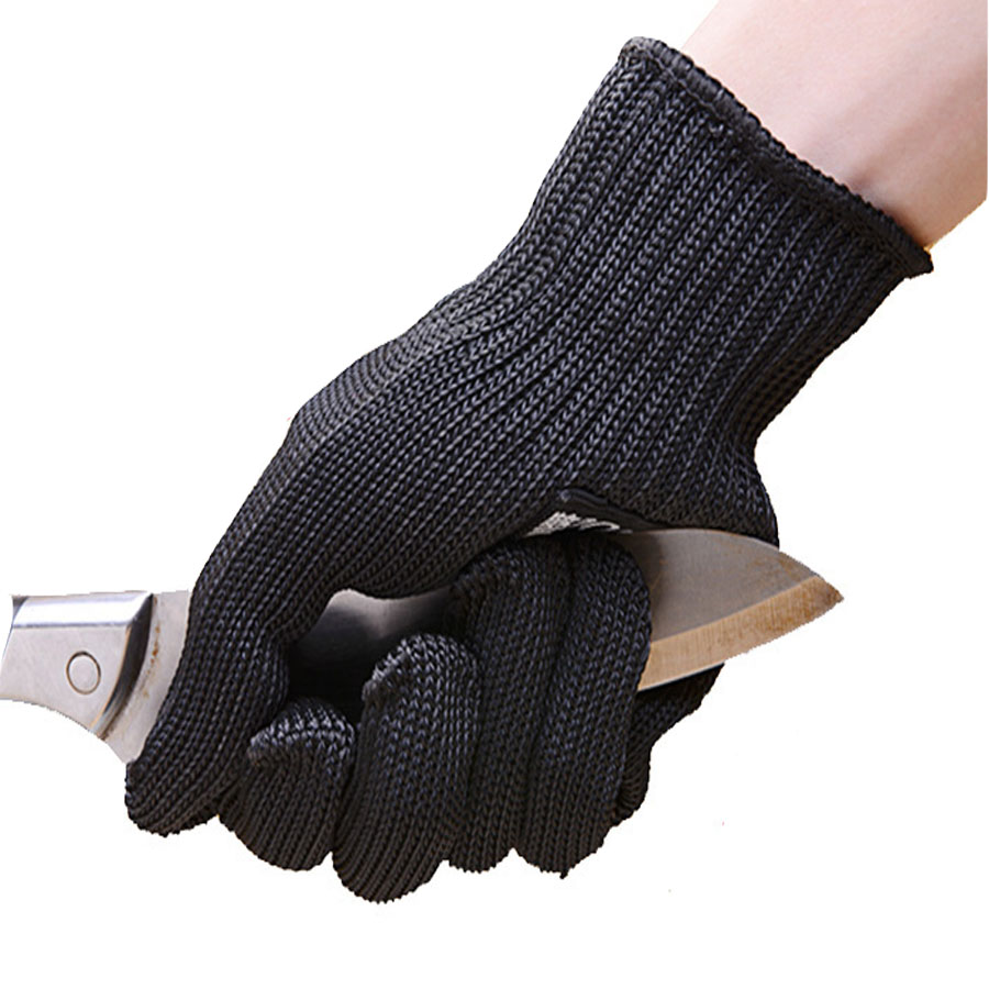 Black gardening gloves - Black Thicken Steel Wire Safety Anti Cutting Gloves Gardening Work Protection Tool 1 Pair