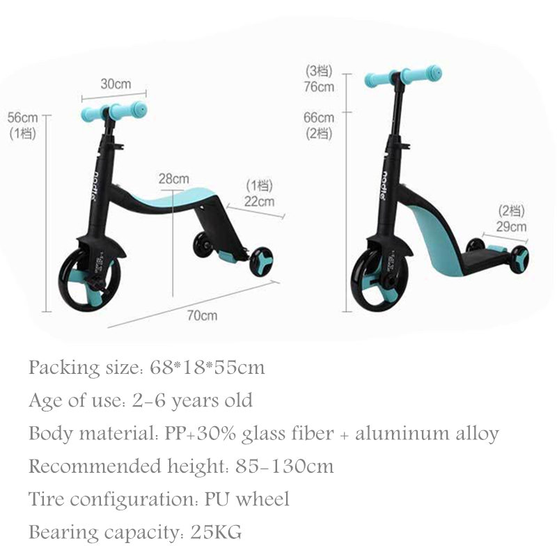 3 en 1 enfants coup de pied trottinette Tricycle Balance vélo enfant tour sur jouet garçon fille Scooter réglable bambin anniversaire cadeau voiture - 6