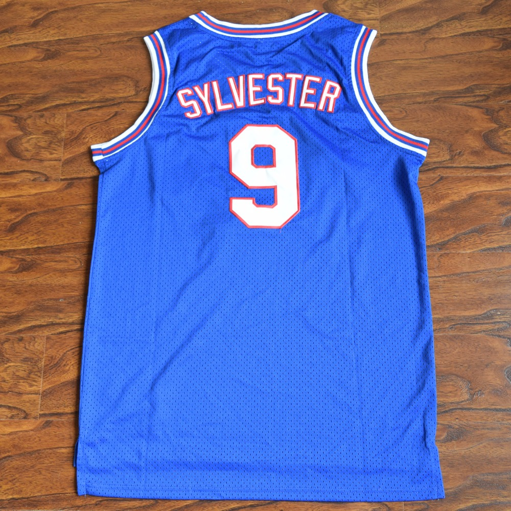 1030bb9cfa0e09 MM MASMIG  17 Kinds  Space Jam SYLVESTER 9 W. COYOTE 13 FUDD 53 TAZ !  PODOLAK 96 Tune Squad Basketball Jersey Stitched Blue-in Basketball Jerseys  from ...