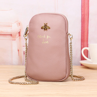 Genuine Leather Women Mobile Phone Bags Letter Small Purse Female Woven Zipper Shoulder Bags Mini Messenger