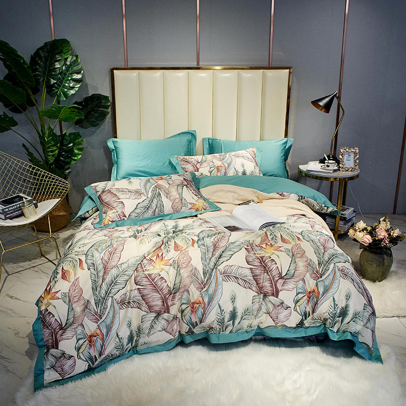 Watercolor Floral Leaves Duvet Cover Set, Egyptian Cotton Bedding,Queen King size 4Pieces Bedding set Bed sheet Pillow shams