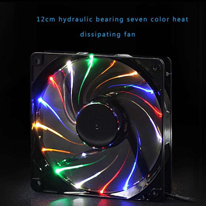 Computer cooling fan 12cmx12cmx2.5cm high speed silent box fan LED illuminating color lamp host power CPU fan