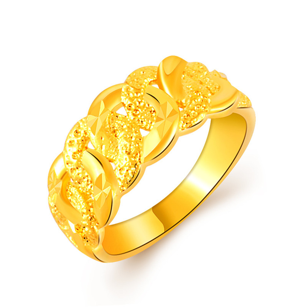Hot Sale 24k Gold Filled Rings For Women Simple Cheap Stainless Steel HipHop Popular Delicate Finger engraving Wedding Jewelry