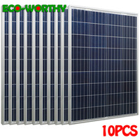 ECOworthy 1000W 18V Poly Solar power Panels Polycrystalline for 12V Battery Charger Off Grid Home 10pcs 100W soalr panels system
