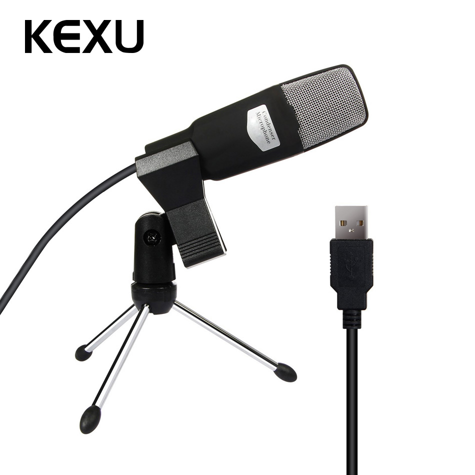 kexu usb microphone condenser broadcast studio mic with shock mount stand mini recording. Black Bedroom Furniture Sets. Home Design Ideas