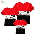 V-TREE летом соответствия семьи костюмы сращивания семья взгляд майка с коротким рукавом рубашки мать отец ребенка футболку одежды соответствия