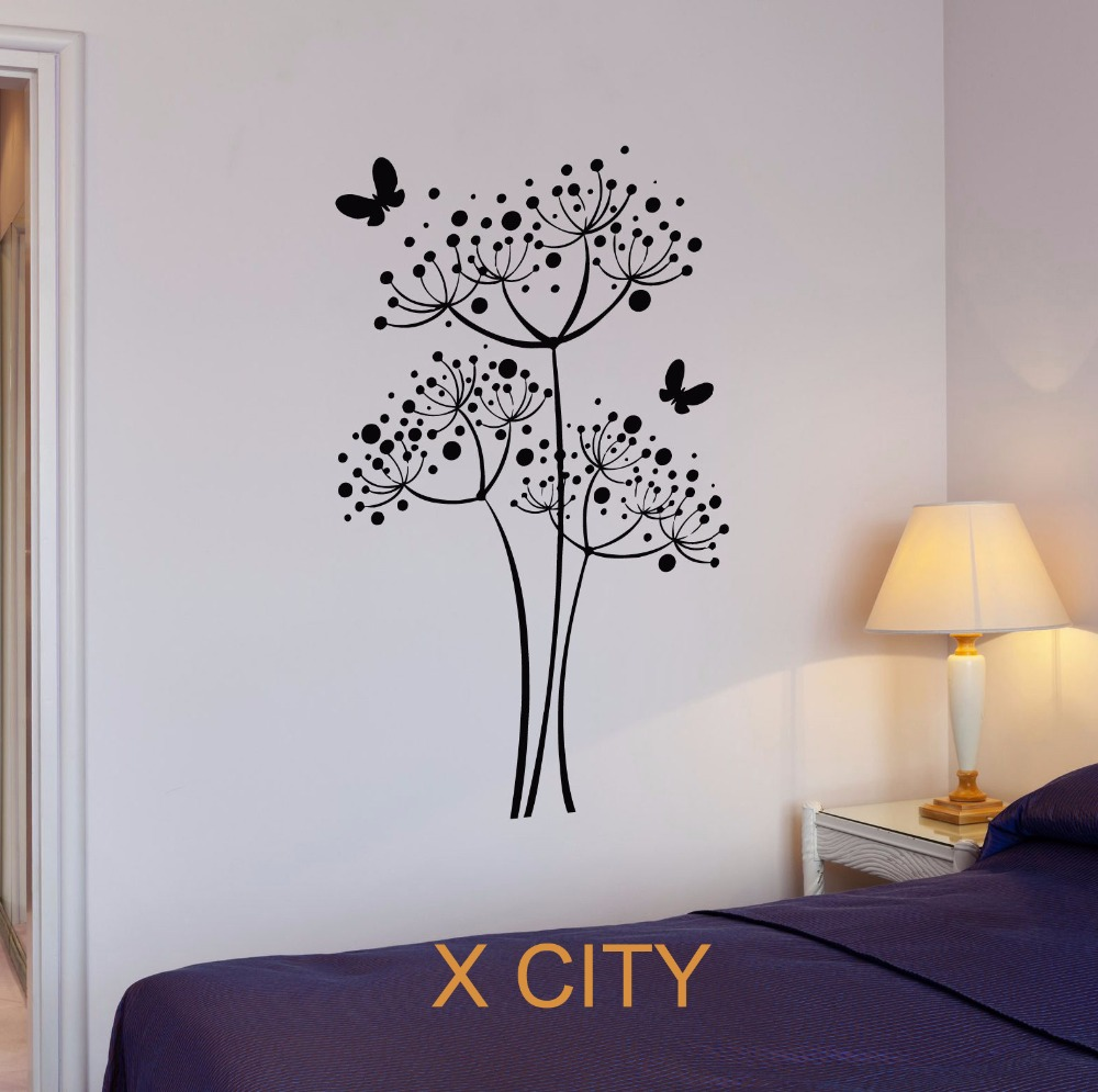 Mural Kamar Kupu Kupu Dandelion Bunga Wall Art Sticker Decal Removable