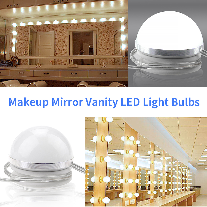 Decoration wall lamps Makeup Mirror LED lights Bulbs 10PCS vanity mirror with led Light Hollywood Stepless Dimmable AC85-265V