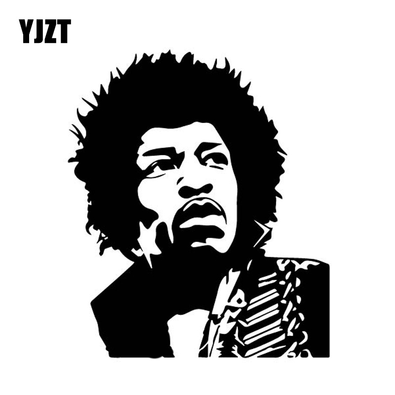 YJZT 14CM*16.5CM James Marshall Hendrix American Guitarist Singer Composer Vinly Decal Car Sticker Black/Silver C27-0521 image