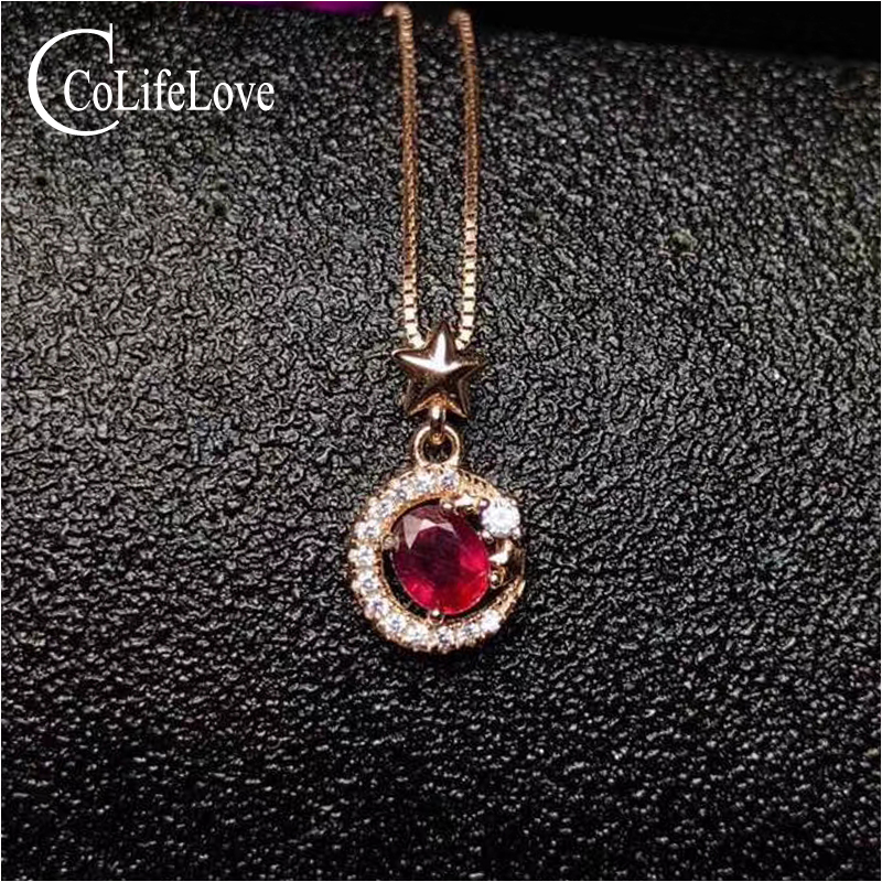 Fashion ruby necklace for party 4 mm 5 mm natural blood red ruby silver pendant solid