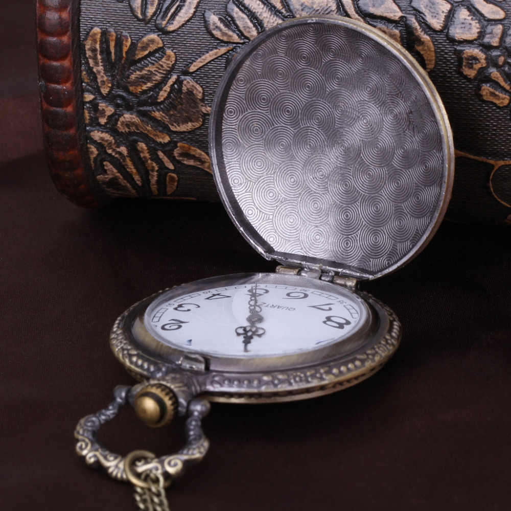Bronze Fob Uhr Antike Vintage Krone Taschenuhr Halskette mit Kette Uhr