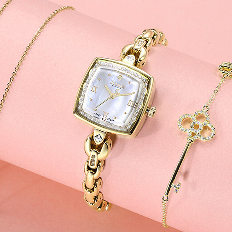 Top Julius Lady Women's Watch Japan Movt Fashion Hours Dress Rhinestone Shell Bracelet Chain Business School Girl Birthday Gift