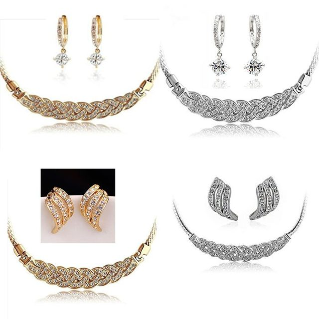 Hot Sale Free Shipping Wholesale Cubic Zirconia Bridal Jewelry Set African Wedding Jewelry Set Collar Choker Necklace Earrings