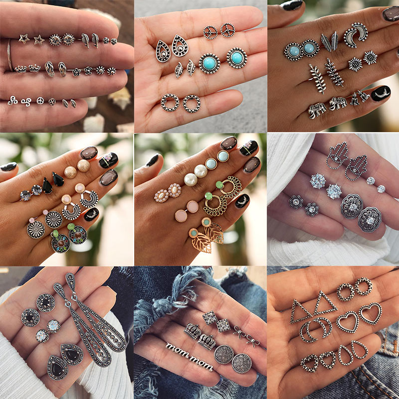 Fashion Small Stud Earrngs Set For Women Vintage Boho Flower Moon Crystal Stone Earrings Set Female Oorbellen Jewelry Gifts