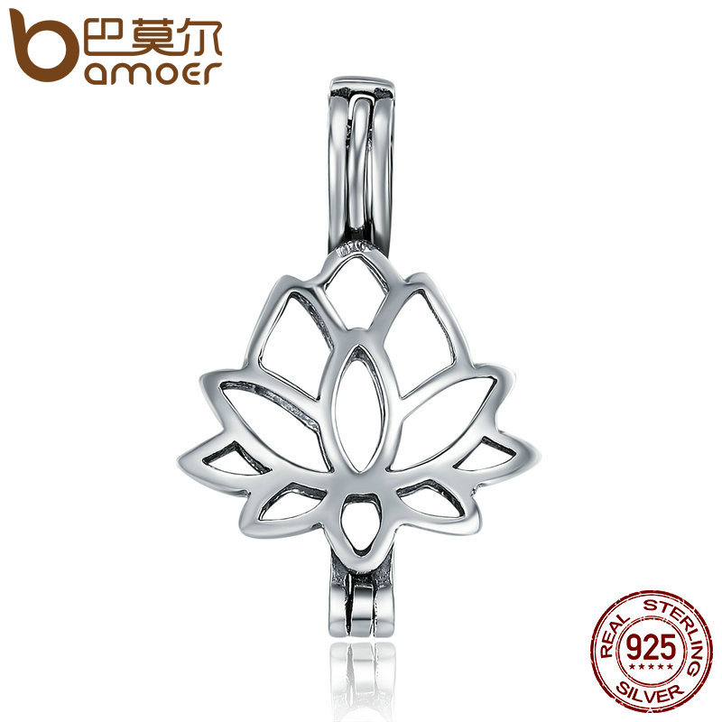 BAMOER Real 100% 925 Sterling Silver Plant Pendant Elegant Lotus Flower Cage Pendant fit Women Chain Necklace jewelry SCP027 bamoer real 100