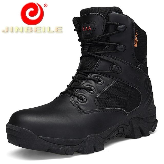JINBEILE High Lace-up 39-46 Men Hiking Shoes Hard Wearing High Quality Outdoor Sports Shoes Men Trekking Army Men Climbing Shoes