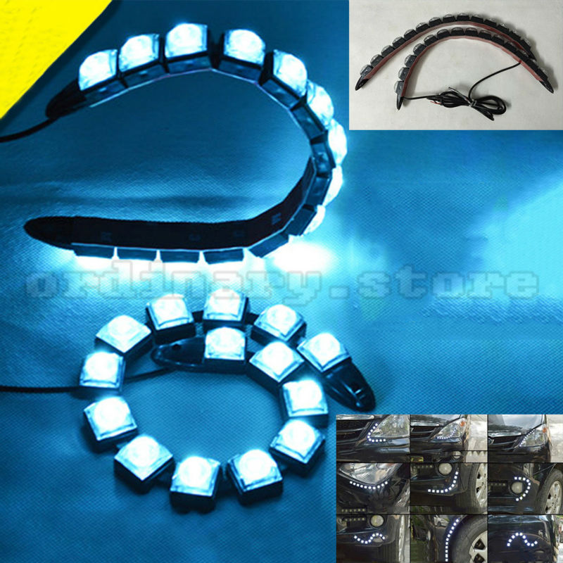 1 Pair 14 LED Strip Flexible Snake Style Eagle Eye Car DRL Daytime Running Light Driving Daylight Safety Day Fog Lamp new arrival a pair 10w pure white 5630 3 smd led eagle eye lamp car back up daytime running fog light bulb 120lumen 18mm dc12v