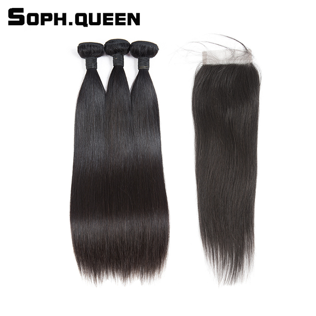 Sophqueen Straight Virgin Human Hair Bundles With Closure 44 Lace