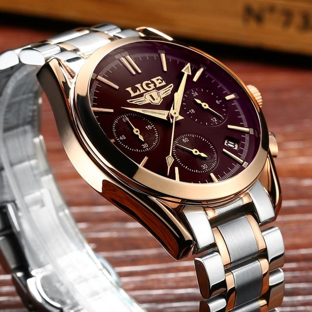 Watches Men LIGE Brand Full Steel Military Watches Mens Quartz Clock Men Business Watch Sport Waterproof WristWatch Man Relojes