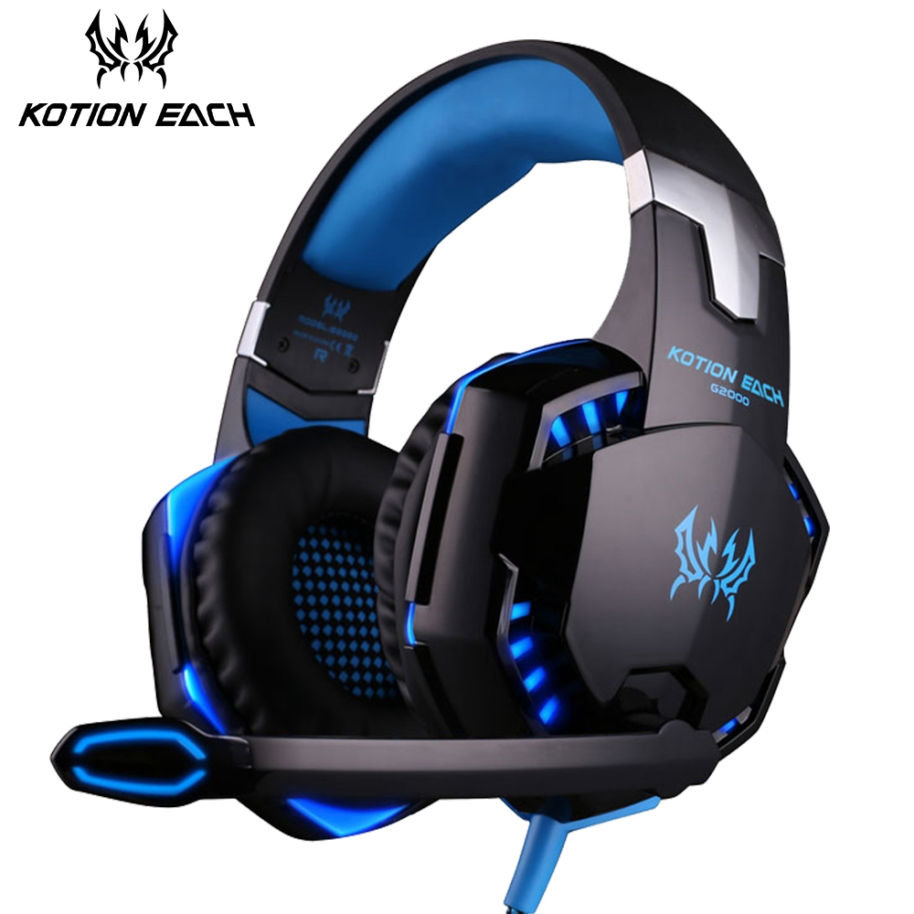 KOTION EACH Gaming Headphone Noise Cancelling Bass Stereo Gamer Headset With Microphone Headphones Mic LED Light For PC Computer v2000 headset 7 1 channel 3 5mm jack bass stereo sound effect gaming headphone with mic for computer pc laptop gamer earphone