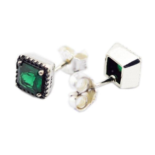 8e2989a83 Timeless Elegance Earrings 100% 925 Sterling Silver Green & Clear Cz Stud  Earrings for Women Gift DIY Fine Jewelry
