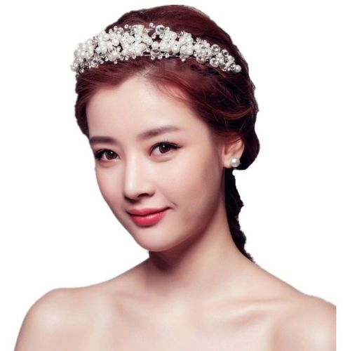 Bridal Prom wedding diamante crystal front back hair tiara jewellery hijab dress