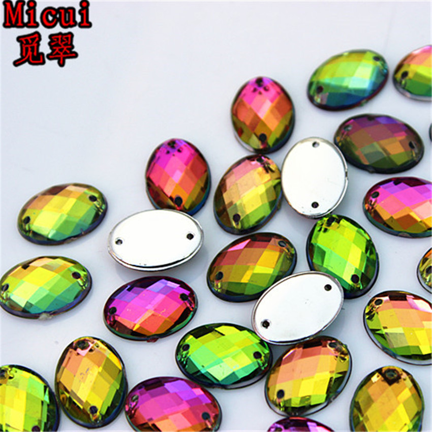 Micui 100pcs 10*14mm Rainbow Color Oval Acrylic crystal Rhinestones Beads For Sewing Wedding Bags Stones Accessores Sew on ZZ373