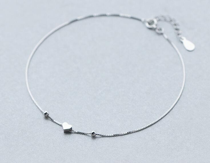 1 Stück 925-sterling-silber Herz & Perlen Kette Armband Fußkettchen Einstellbar Ls269