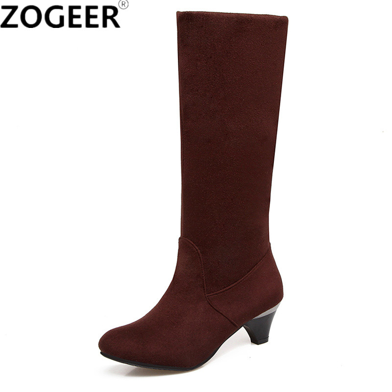 Hot 2018 Autumn Women Boots Solid Flock Black Mid-calf Boots Casual Mid Heel Fashion Ladies Shoes Woman Plus size 45 memunia 2018 half boots for women spring autumn mid calf boots fashion elegant pu nubuck leather shoes woman party flock