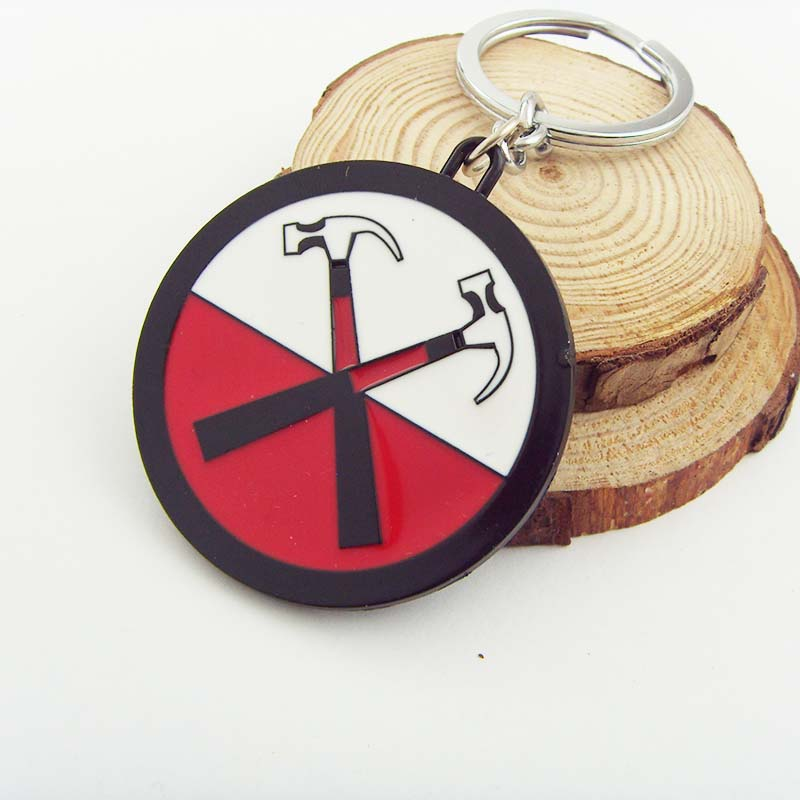 Trendy Rock Music Band Key Chain PINK FLOYD The Wall Double Intersecting Hammers Logo keychains Dark side For fans souvenirs
