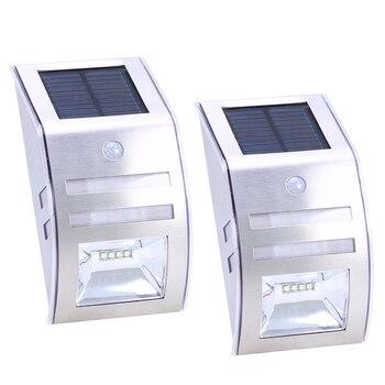 2 יחידות led נירוסטה שמש גן נוף המנורה חיצוני pir motion חיישן אור קיר מנורת אינדוקציה אבטחת גוף שמש