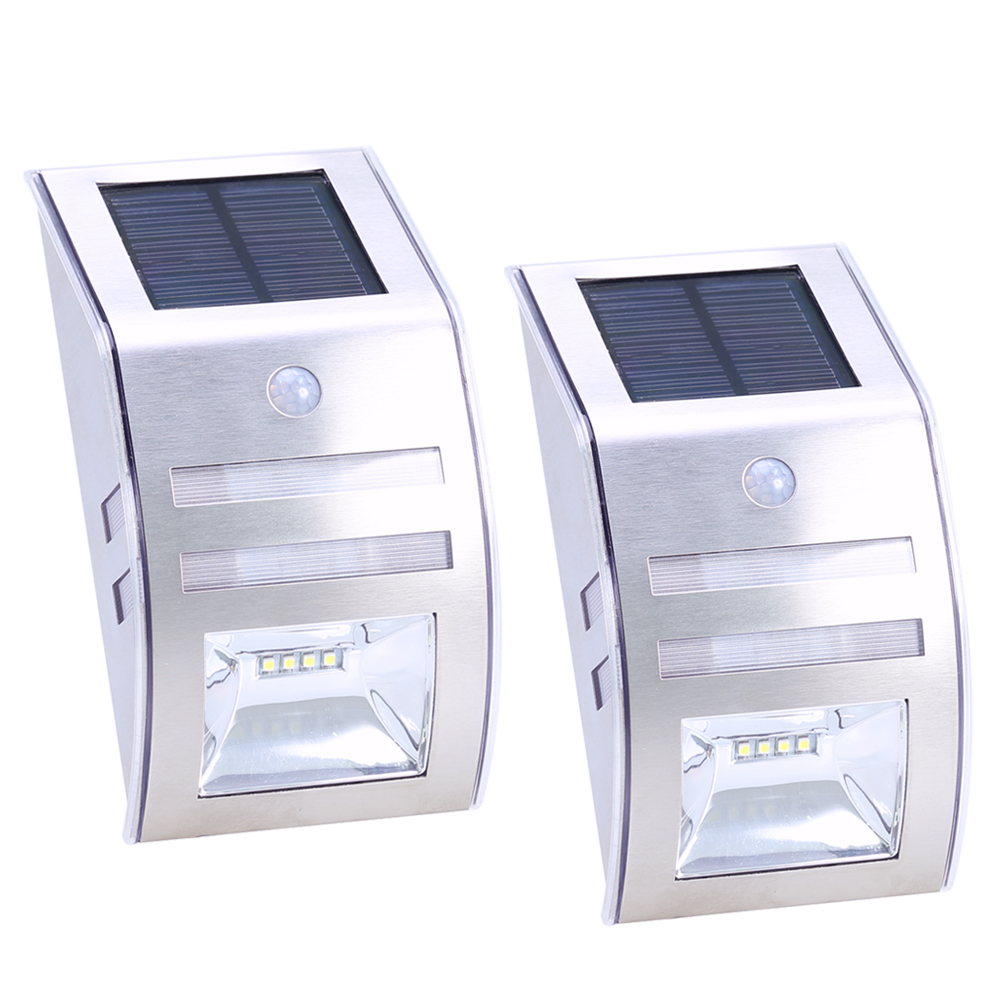 2pcs LED Stainless Steel Solar Garden Landscape Lamp Outdoor PIR Motion Sensor Wall Light Solar Body Induction Security Lamp