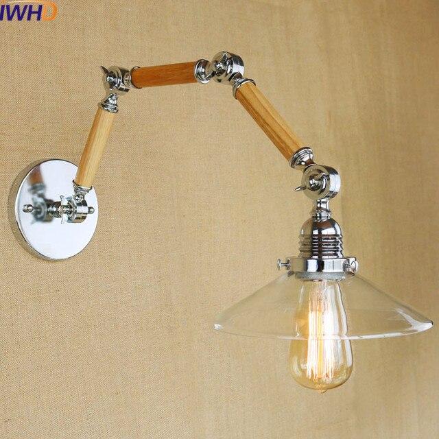 IWHD Wood LED Wall Light Fixture Bra Vintage Loft Style Wall Lamp Bedroom Stairway  Lighting Aplique