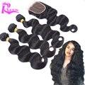 7A дешевые перуанский девы волос с закрытием волны тела человеческого волоса с закрытием 4 шт. много бразильских волос ткать пучки с закрытием