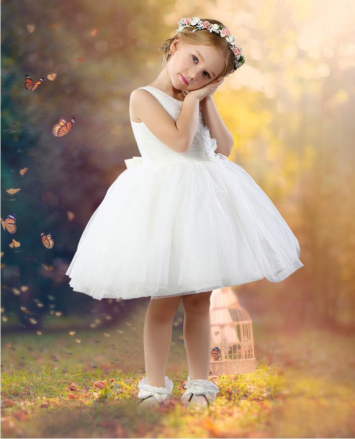 Free Shipping A-Line  Flower Girl Dresses White Real Junior Dresses Little Girls Kids/Children Dress for Mother Daughter Dresses