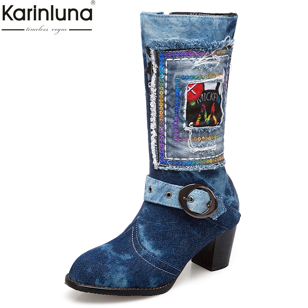 KarinLuna 2018 Plus Size 34-48 New Fashion Square High Heels Zip Up Shoes Woman Boots Denim Mid Calf Boots Woman Party Shoes plus size light up cosplay party skirt