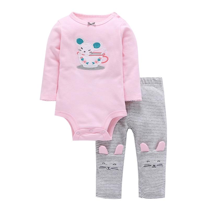 2019 volledige real limited lange mouwen katoen romperjumpsuits pasgeborenen baby baby meisje outfit cartoon muis kinderkleding set