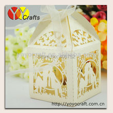 WB009 LOVERS Ivory Laser Cut Wedding Favor Silk